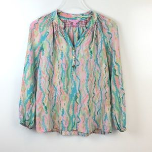 LIlly Pulitzer Elsa Silk Popover Top Size XS